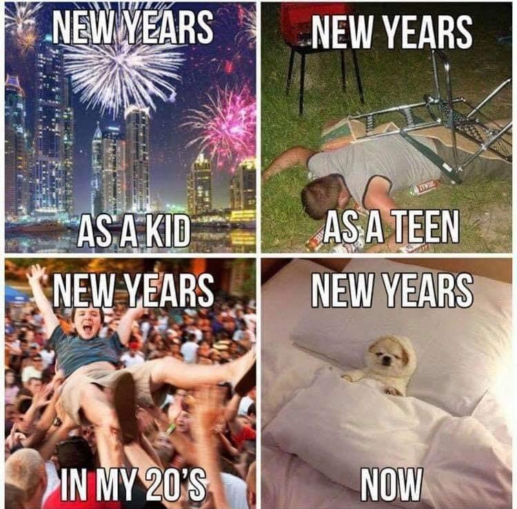 New Year's Eve meme showing the scaling back of the celebration as one gets older